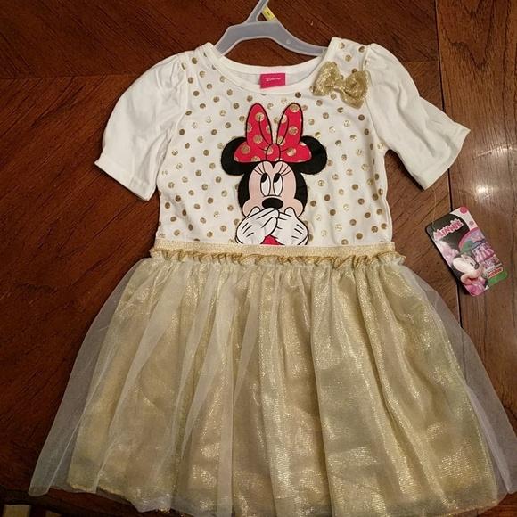 Disney Dresses White And Gold Minnie Mouse Dress Poshmark